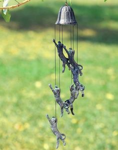 Outdoor Wind Chimes   Cat Climbing Wind Chime Pouncing Stretching Garden Bell Windchimes ...