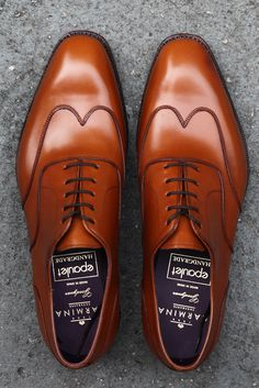 Carmina 'Carnegie Austerity' wingtip oxford in French calfskin, caramel brown