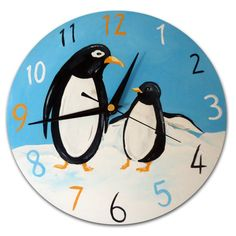 Penguin Clock / Children's Wall Clock / zoo Animal Decor /  Hand-Painted by withhugsandkisses. Explore more products on http://withhugsandkisses.etsy.com