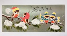 Vintage Christmas Card Bird Family Hat Scarf Tree Foam Snow Music 3D 4 Of Us A+