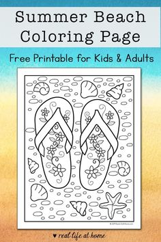 "The post ""Looking for a fun summer coloring page for kids? Kids and adult alike will enjoy completing this free printable beach flip flop coloring page this summer. appeared first on Pink Unicorn fun For Adults Summer Coloring Sheets, Beach Coloring Pages, Coloring Pages For Kids, Free Coloring, Kids Coloring, Colouring, Adult Coloring, Summer Activities For Teens, Beach Activities"