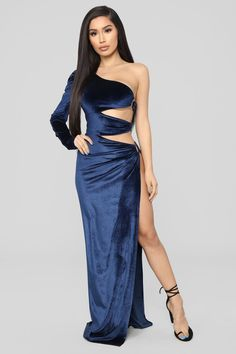 Available In NavyVelvet Maxi DressOne ShoulderPuff SleeveO-Ring And Cut Out DetailHigh Polyester SpandexMade in USA Revealing Dresses, Tight Dresses, Sexy Dresses, Fashion Dresses, Prom Dresses, Fashion Night, Only Fashion, Fashion Tips, Mens Fashion