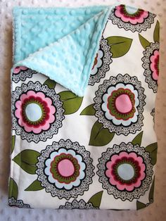 MODERN FLORAL ~ Baby Girl Floral Minky Crib Blanket   GORGEOUS by BucciAndBubba, $34.00