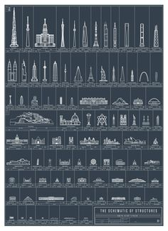 From the Parthenon to the Burj Khalifa, a new infographic and poster from Pop Chart Lab chronicles 90 of the greatest works of architecture since prehistory. Villa Architecture, Futuristic Architecture, Amazing Architecture, Architecture Posters, Cultural Architecture, Classical Architecture, Greek Parthenon, Typographie Fonts, The Freedom Tower