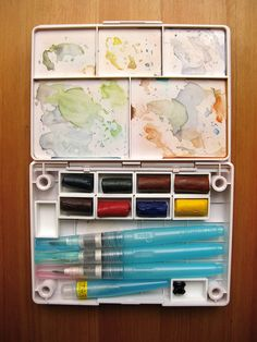 Modified Paint Box/ Gentian Osman...uses cut up Daniel Smith watercolor sticks to create pans.