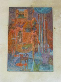 Fenetre et Femme - a painting by Islam Zian-Alabdeen http://entreetoblackparis.blogspot.fr/2013/03/africa-unlimited-at-cloitre-des.html