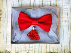Women's red bow tie with tassel. Tassel bow tie by KristineBridal #red #tassel #bow #tie #unique #women's #gift #aristocratic #elegant #womensfashion #picoftheday