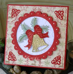 by Simone Lupscha: Papiart ***** ***** Cottage Cutz dies: Elegant Christmas Bell… – Christmas DIY Holiday Cards Cas Christmas Cards, Diy Holiday Cards, Stamped Christmas Cards, Christmas Gift Sets, Homemade Christmas Cards, Elegant Christmas, Handmade Christmas, Christmas Bells, Christmas Crafts