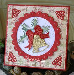by Simone Lupscha: Papiart ***** ***** Cottage Cutz dies: Elegant Christmas Bell, Homemade Christmas Gift Set. Bell: white cs/gold emboss powder. Bell ribbon: red emboss powder. Bell background: snowflake embossing folder. Spellbinders dies: circle frame w-white liquid pearls. Corners: Homemade Christmas Gift Set