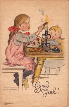 Swedish Christmas postcard by Elsa Beskow, Elsa Beskow, Vintage Greeting Cards, Vintage Christmas Cards, Christmas Pictures, Vintage Postcards, Swedish Christmas, Scandinavian Christmas, Kids Christmas, Merry Christmas