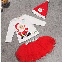 New 2016 Children Christmas Costumes Baby Clothes Sets Kids Suit Baby Girls t shirt+cap+Tutu dress 3PCS children suit KD-70(China (Mainland))