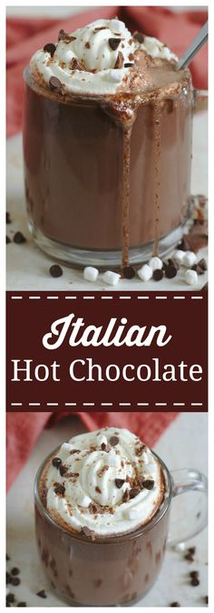 Italian Hot Chocolate – A thick and creamy hot chocolate that is pure perfection. This homemade hot chocolate takes only 15 minutes to make and it is so delicious! #hot #chocolate #italian #drink #christmas