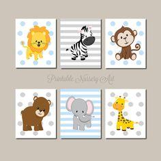 Zoo Animals Nursery Printables Jungle Nursery Prints Boy