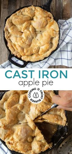 Don't wait for fall to make this easy, classic Cast Iron Skillet Apple Pie. It is a delicious pie that has a flaky crust, a warm cinnamon-apple filling and caramel bottom crust. Source by cookfrontburner Apple Pie Recipe Easy, Homemade Apple Pies, Apple Pie Recipes, Apple Desserts, Just Desserts, Gourmet Recipes, Dessert Recipes, Fall Desserts, Fall Recipes
