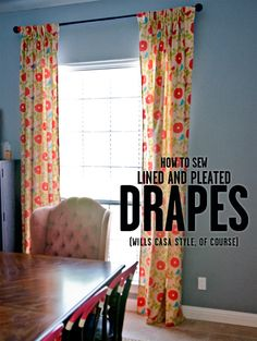 How to Sew Lined, Pleated Drapes by just sewing 6 straight lines. Super easy DIY for a huge impact in any space. Pinch Pleat Curtains, No Sew Curtains, Pleated Curtains, How To Make Curtains, Rod Pocket Curtains, Lined Curtains, Custom Curtains, Easy Sewing Projects, Sewing Ideas