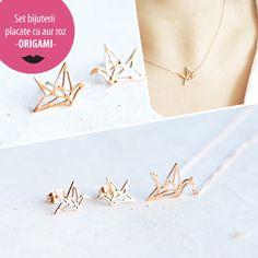 Set bijuterii placate cu aur roz - ORIGAMI - MSM-Shop Aur, Origami, Bracelets, Gold, Shopping, Jewelry, Jewlery, Jewerly, Schmuck
