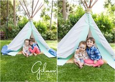 Teepee Mini Sessions! Newport Beach Children's Photographer, CA, Cali, California, Outdoors, Fun, Adorable, Cute, Summer, Pretty Day, Sunny, Brothers, Boys, Teepee, Mint, Grey, Blue, Tan Rug, Fuzzy Rug, Checkered Shirts, Coral Pants, Blue Shorts, Love, Siblings, Family, Hugging, Brothers Hugging, Cute Siblings  GilmoreStudios.com