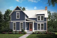 House Plan 51976 - Cabin, Country, Farmhouse, Southern Style House Plan with 1494 Sq Ft, 1 Bed, 1 Bath Small Farmhouse Plans, Modern Farmhouse Exterior, Modern Farmhouse Style, Farmhouse Design, Bungalow House Plans, Cottage House Plans, New House Plans, Cottage Homes, Farm House