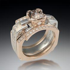mokume falling water engagement ring with enhancer by krikawa jewelry designs