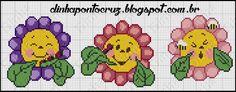 Dinha Ponto Cruz: Flores fofas em ponto cruz