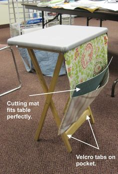 Great ironing and cutting surface for right by the sewing machine and then puts away flat when your done Great for classes too!