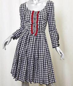 black and white Maxi Dress by Prada Gingham