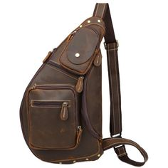 Tiding Men's Crazy Horse Leather Chest Travel Backpacks >> Additional details found at the image link  : Travel Backpack