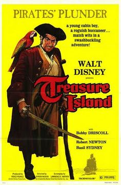 Treasure Island is a 1950 live action adventure film produced by Walt Disney Productions, adapted from the Robert Louis Stevenson's 1883 novel Treasure Island. It stars Bobby Driscoll as Jim Hawkins and Robert Newton as Long John Silver. Walt Disney Movies, Disney Movie Posters, Disney Live, Long John Silver, Merle Oberon, Sean Penn, Live Action Movie, Action Movies, Catherine Deneuve