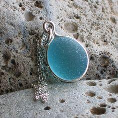 Natural Sea Glass Sterling Silver Petite Pendant Necklace Rare Aquamarine (503)