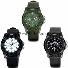 Herren Armbanduhr Analog Quarz Piloten Outdoor-Sportuhr Textil Armband Uhr