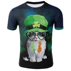 8d604853 3D Digital Printed Cat Pattern Men's Summer Short Sleeve T-shirt Size 4XL -  Multi-color