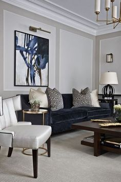 House Interior Design Ideas - Motivational Interior Decoration Ideas for Living Space Style, Bed Room Design, Cooking Area Style and also the whole home. Navy Living Rooms, Glam Living Room, Classic Living Room, Living Room Interior, Cozy Living, Modern Living, Small Living, Modern Wall, Living Room Artwork