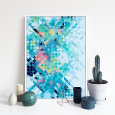 Modern Rainbow Pixel Pop Hippie A4 Large Art Print Poster Abstract Wall Picture…