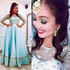 Neha Kakkar In Sky Blue Lehenga Choli,Net Lehenga choli,Plain Lehenga with Mirror Work Blouse,Party Wear Lehenga choli,wedding lehnega choli Designer Party Wear Dresses, Kurti Designs Party Wear, Kurta Designs, Designer Gowns, Lehenga Choli Wedding, Party Wear Lehenga, Blue Lehenga, Plain Lehenga, Net Lehenga