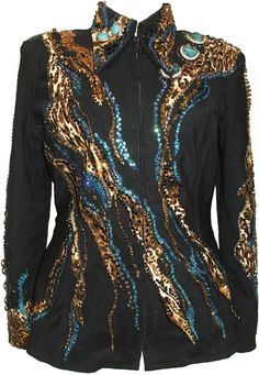 Black Embellished Jacket: Item code:   638-2 by Nancy Vincent  *Unlined. *Material: Black Dense Stretch Ribbed Ottoman & Specialty Fabric in Animal Print . *Accent/Applique Colors/Types: Animal print in tan, carmel, brown with Carribean blue
