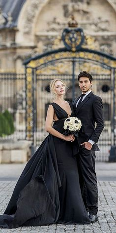 Black Wedding Dresses And Gowns For The Alternative Bride ❤ See more: http://www.weddingforward.com/black-wedding-dresses/ #weddings