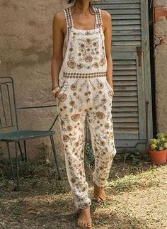 Pattern Type:Floral Sleeve Type:Sleeveless Thickness:Lightweight Material:Cotton-blend Occasion:Daily Style:Casual Theme:Summer Size Chart Size Bust cm inch S 95 M 100 L 105 XL 110 XXL 115 120 Casual Jumpsuit, Floral Jumpsuit, Floral Pants, Floral Sleeve, Floral Sweater, Casual Pants, Hippie Stil, Boho Stil, Style Outfits