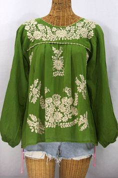 """I knew this color combo would be a hit from the first stitch.  Our """"La Mariposa Larga"""" Embroidered Mexican Style Peasant Top in Fern Green with Cream Embroidery.  #earthday"""