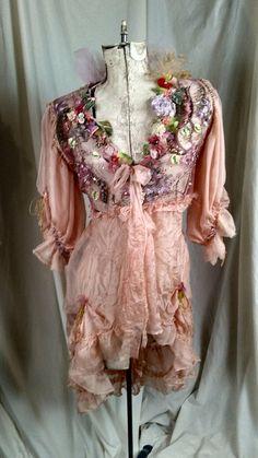 Silk Chiffon JacketFollowing Amill Unique Wearable Art Marie Antoinette Cinderella Style Ruffled Beauty