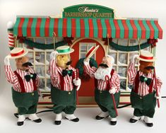Santa's Barber Shop Quartet Animated Musical 15 Tune Song Mr Xmas Teddy Bear Vtg