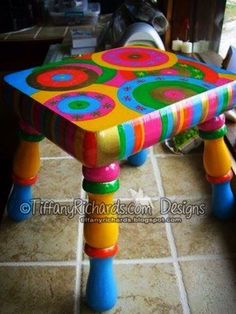 Tiffany's Garden Paper Crafts Digital Stamps Hand Made Cards Country Living: I painted this stool! Tiffany's Garden Paper Crafts Digital Stamps Hand Made Cards Country Living: I painted this stool! Whimsical Painted Furniture, Hand Painted Furniture, Funky Furniture, Colorful Furniture, Paint Furniture, Repurposed Furniture, Furniture Projects, Kids Furniture, Furniture Makeover