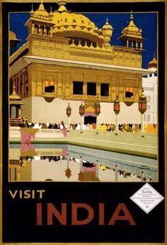 Vintage Visit India Travel Poster Postcard