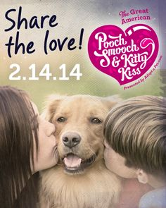 Tomorrow is #ValentinesDay and the 2nd Annual @Adopt-a-Pet.com Great American #PoochSmooch and #KittyKiss. Post your favorite photos of loving moments between you and your pets with the hast tags #PoochSmooch or #KittyKiss and remember to tag @Adopt-a-Pet.com in your post. Let's show the world that shelter pets aren't scary! GO!!!