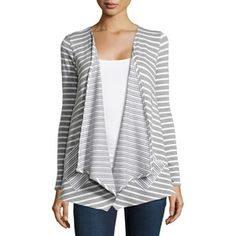 Neiman Marcus Drape-Front Striped Cardigan