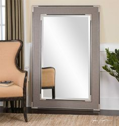 Pool table room Uttermost Alfred Oversized Gray-Tan Mirror