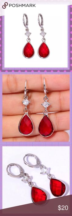 "❤️Red Garnet White Gold Huggable Earrings❤️ ❤️BEAUTIFUL 18K White Gold Filled Huggable Pierced Earrings with Checkerboard Cut Red Garnet Gemstone and shimmering Cubic Zirconia gem, Approx. 1 1/2"" L, Light Weight-you won't even know they are there until someone starts complimenting you on how gorgeous they are!!Excellent Quality!❤️COMES IN JEWELRY BOX❤️PRICE IS FIRM UNLESS BUNDLED❤️ Boutique Jewelry Earrings"
