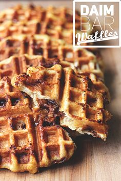 Daim Bar Waffles! {The waffle dough is like a super-simple brioche, aka deliciousness. The brioche-y dough then gets rippled with chopped up Daim Bars, and when you bake the waffles, they melt and become pockets of molten chocolate and toffee.} | The Sugar Hit