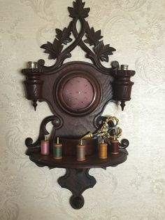 Antique Eastlake Wall Hanging Wood Pin Cushion, Scissor Holder, Thimble Holder & Spool Holder.