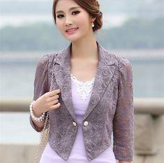 Moda mujeres Ladies Sheer Lace Slim Fit Top Blazer blusa blanca y negro camisa de la chaqueta más el tamaño XL 4XL traje femenino un botón en Blazers de Ropa y Accesorios de las mujeres en AliExpress.com | Alibaba Group