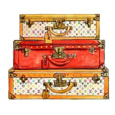 Watercolor Louis Vuitton Travel Trunks Multicolor Print ($10) ❤ liked on Polyvore featuring home, home decor, wall art, bags, furniture, other, photo wall art, paper wall art, watercolor wall art and colorful wall art